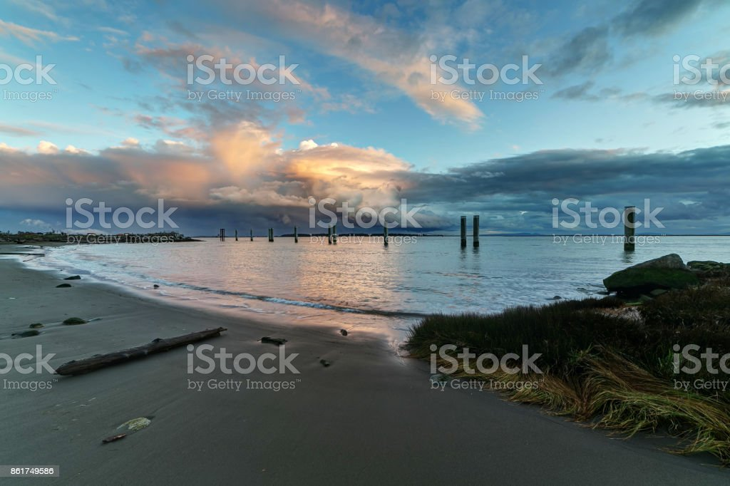 beach with sunset glow stock photo