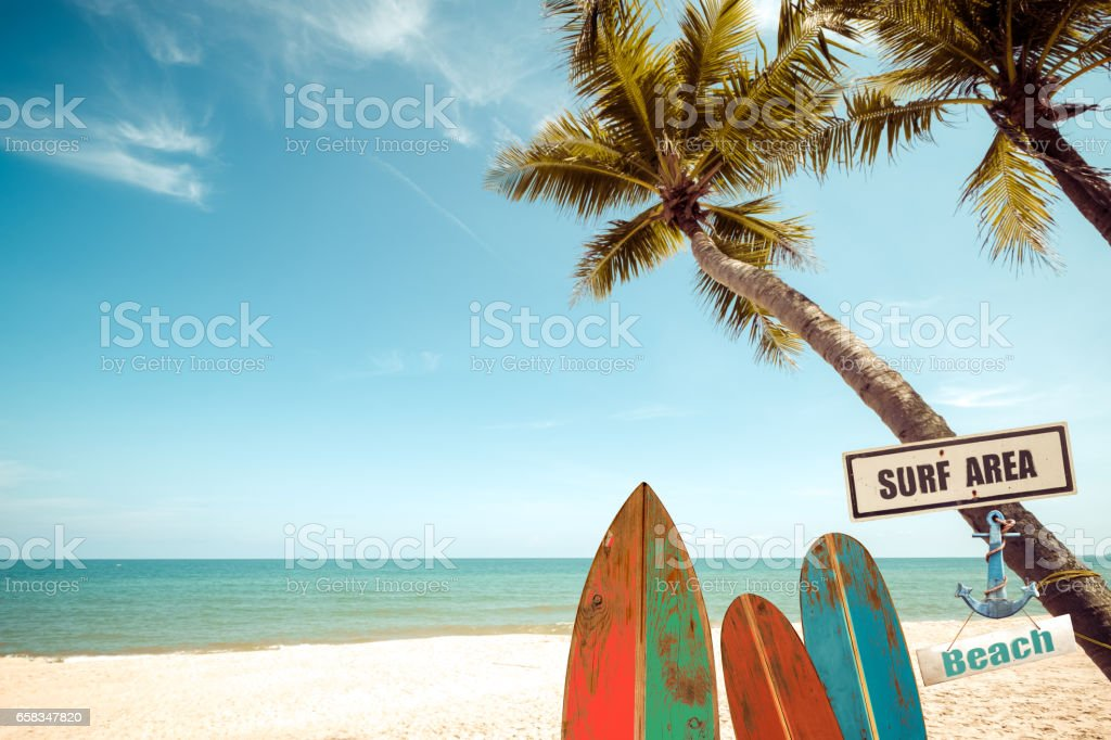 Beach with surf in summer stock photo