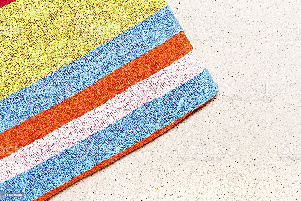 Beach with towel and copy space stock photo