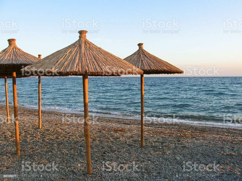 Beach with umbrellas royalty-free stock photo