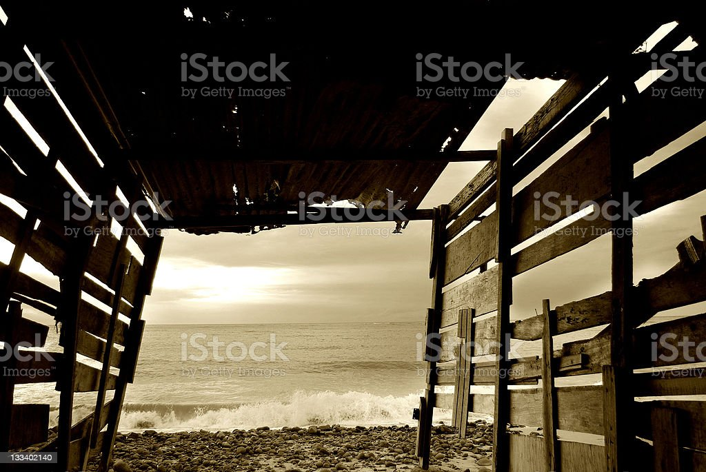 beach wooden shed monochrome royalty-free stock photo