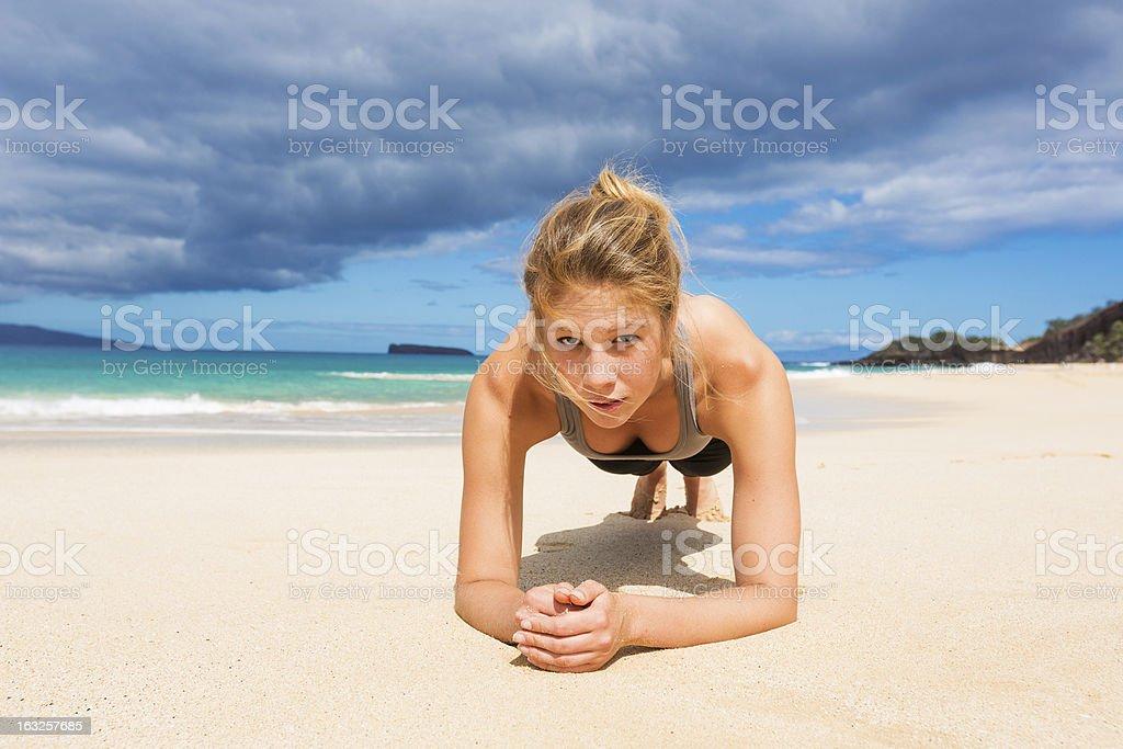 Beach Workout royalty-free stock photo