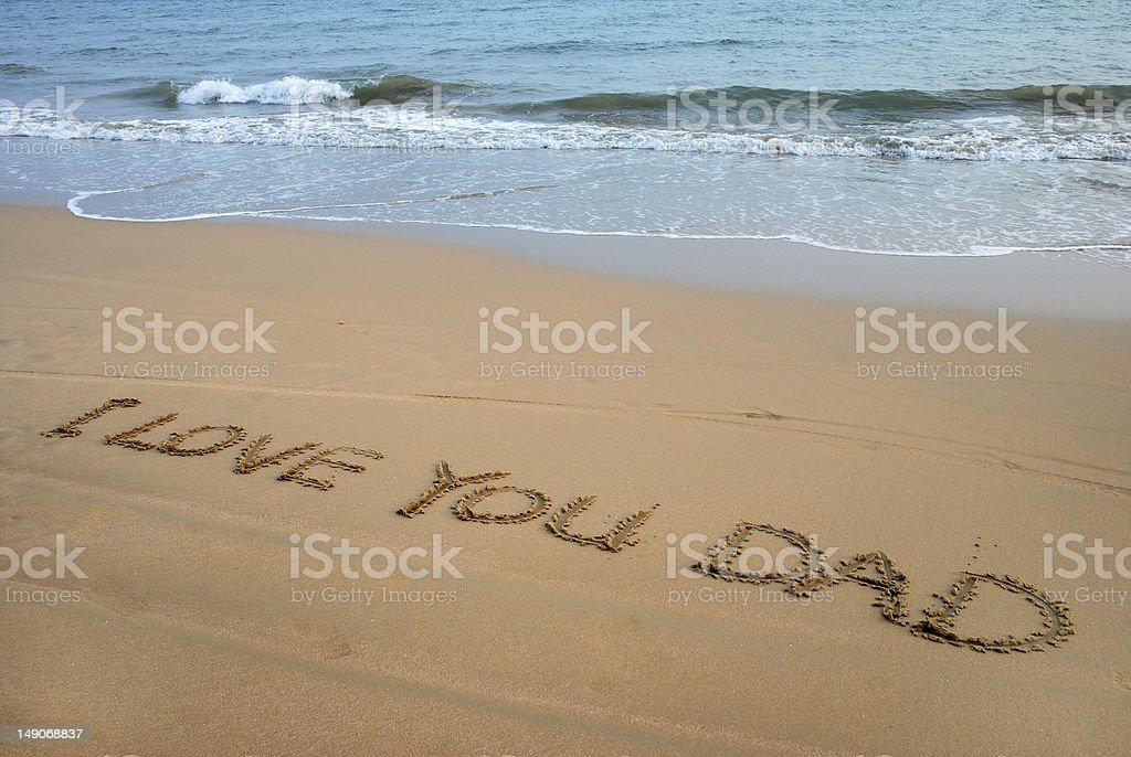 Beach Writing royalty-free stock photo