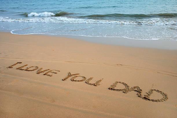 Beach Writing stock photo