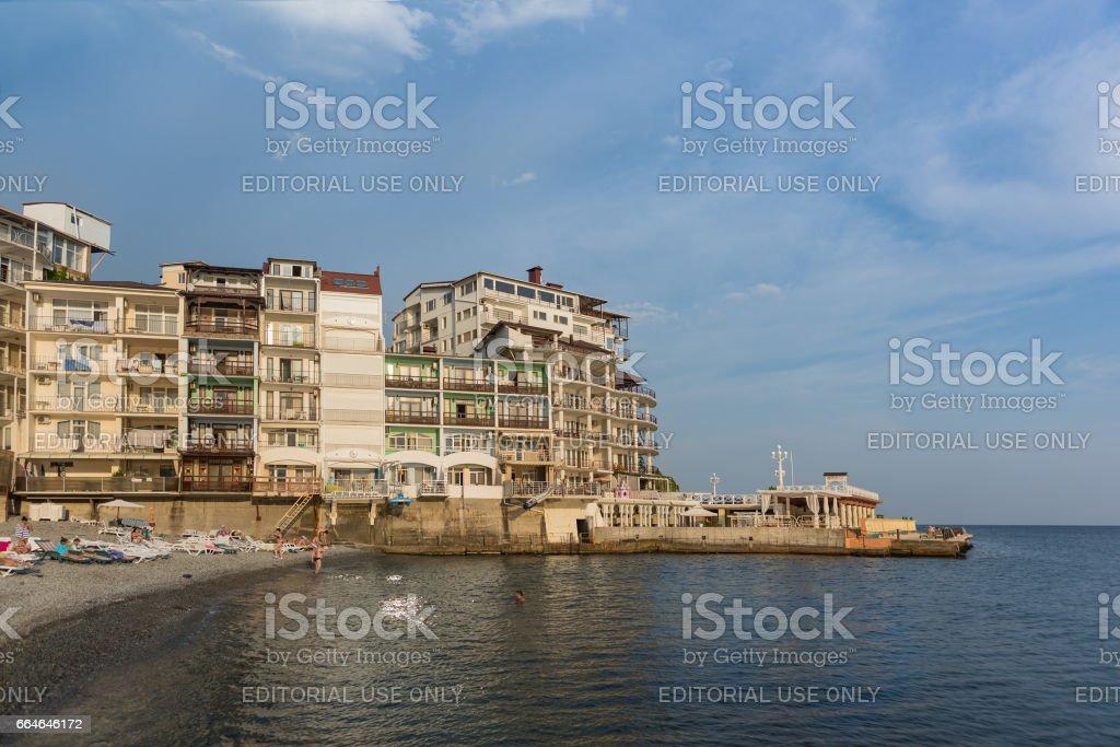 MASSANDRA, CRIMEA, RUSSIA - SEPTEMBER 14.2016 Beach Yacht club stock photo