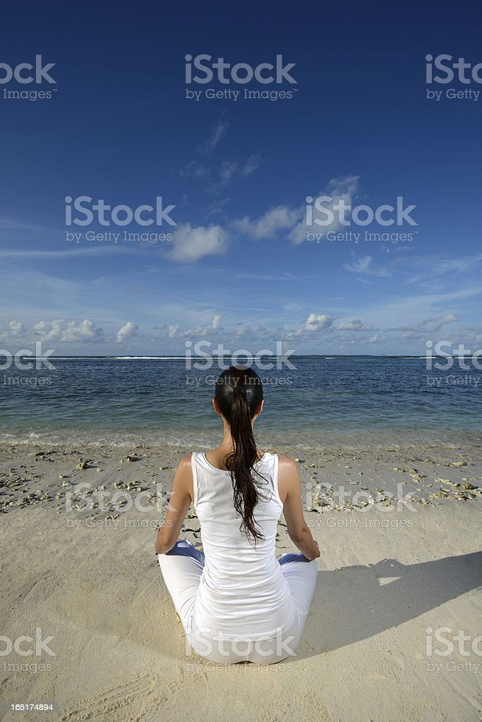 Beach Yoga royalty-free stock photo