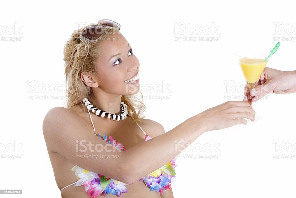 Beachbabe getting served royalty-free stock photo