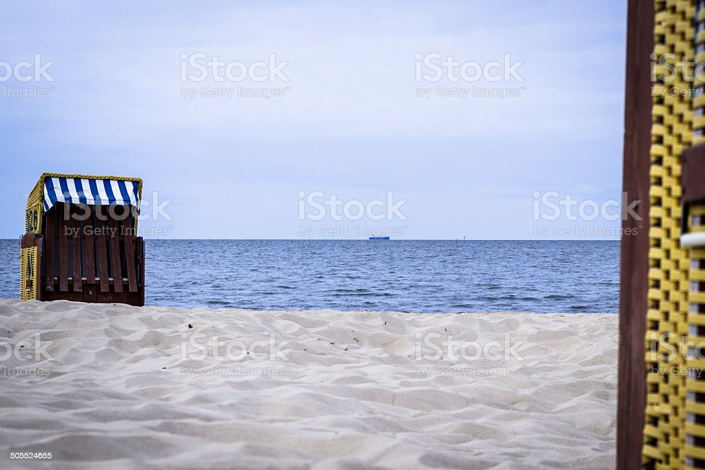 Beachchair on the North Sea stock photo