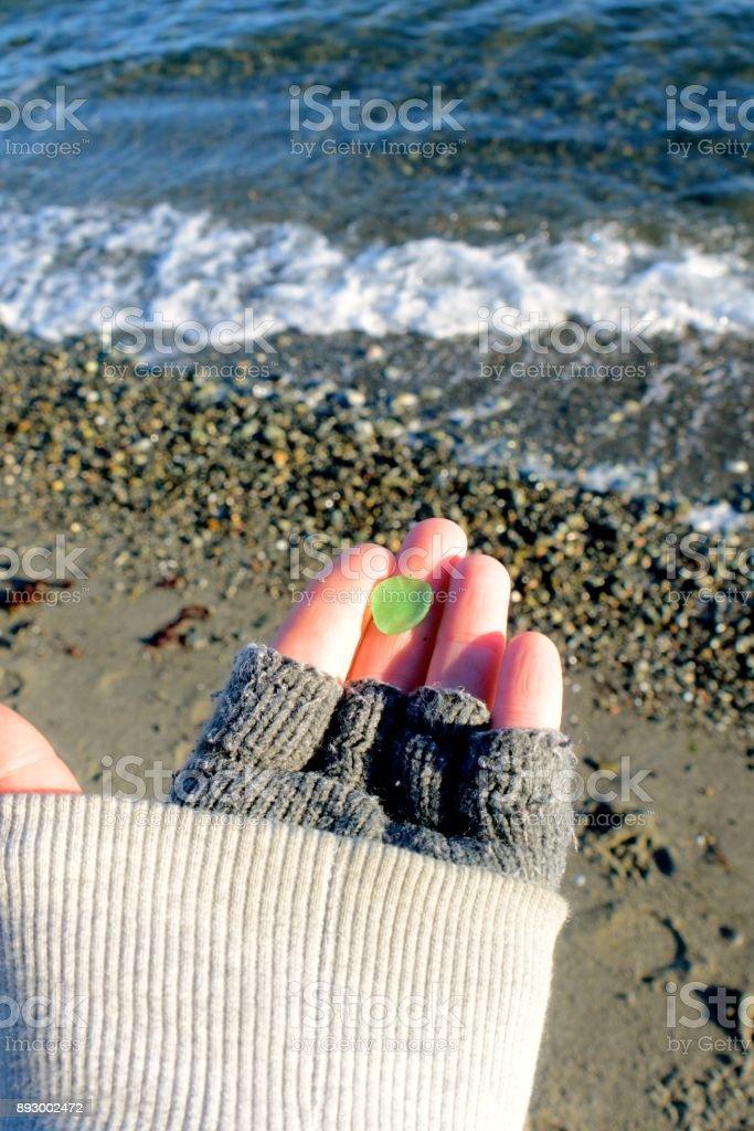 Beachcombing stock photo
