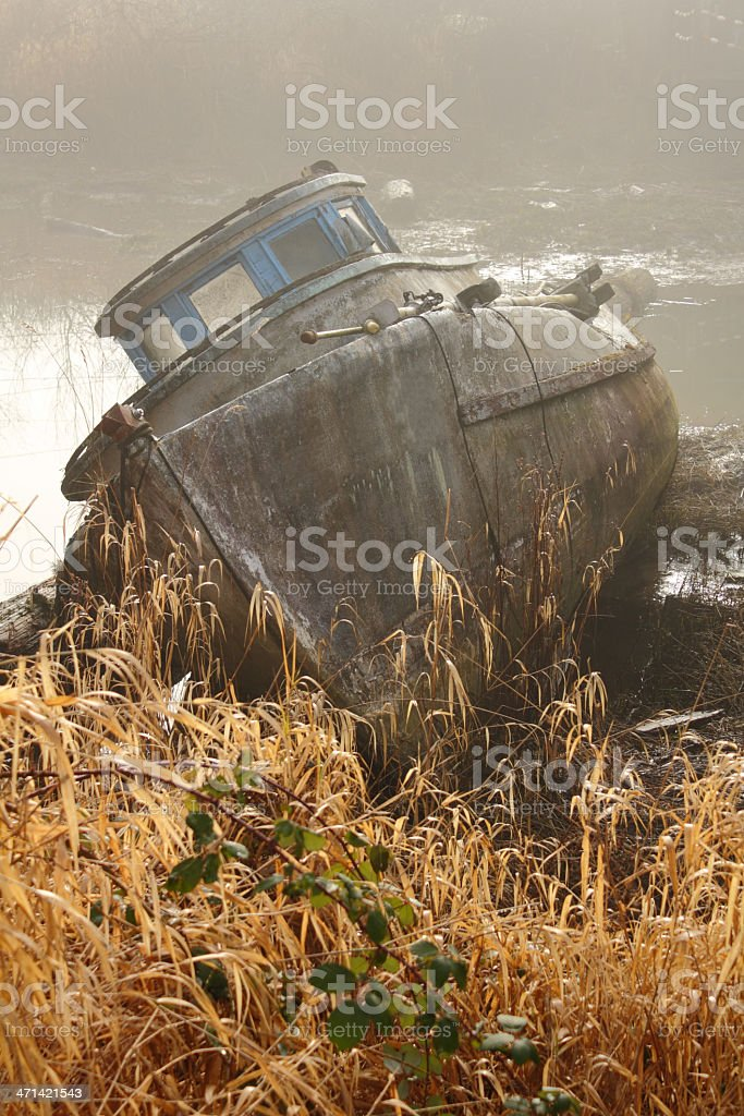 Beached Boat in Fog royalty-free stock photo