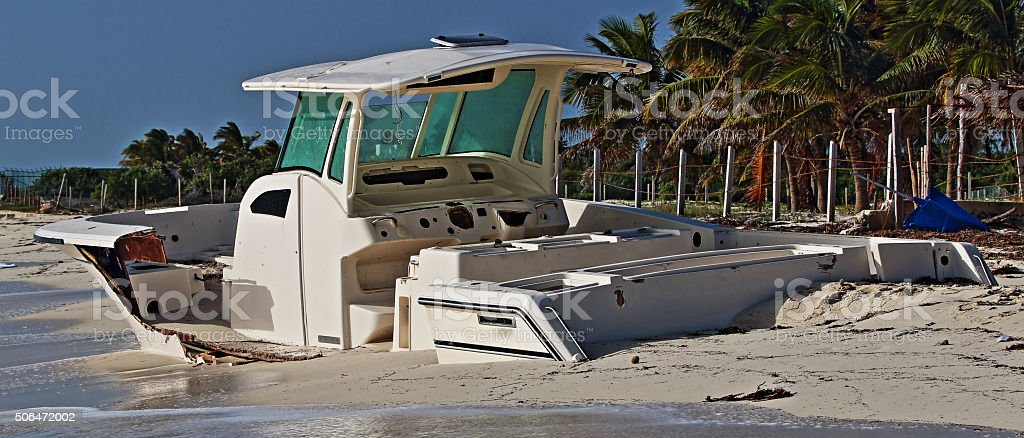 Beached Boat Isla Blanca Peninsula Cancun Mexico stock photo