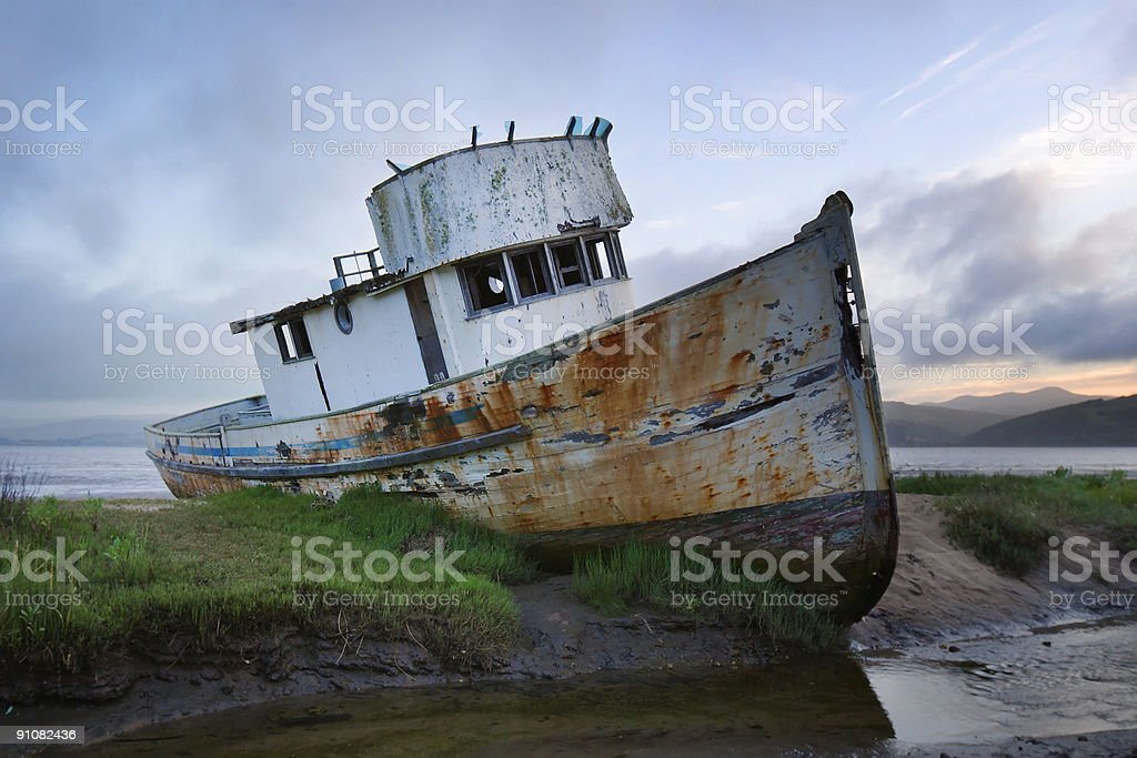 Beached Boat stock photo