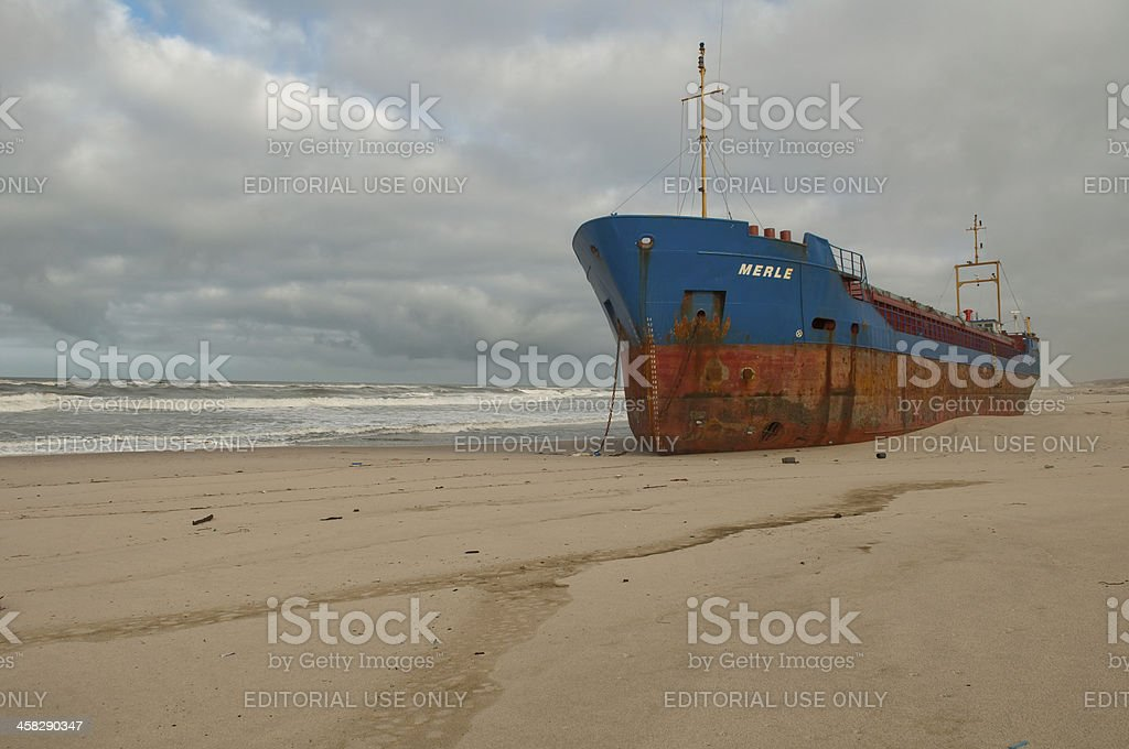 beached cargo ship at Torreira beach stock photo
