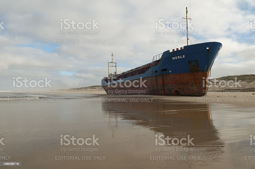 beached cargo ship at Torreira beach royalty-free stock photo