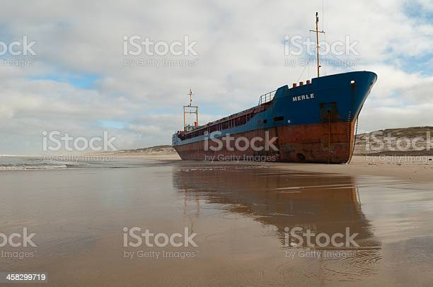 beached cargo ship at Torreira beach