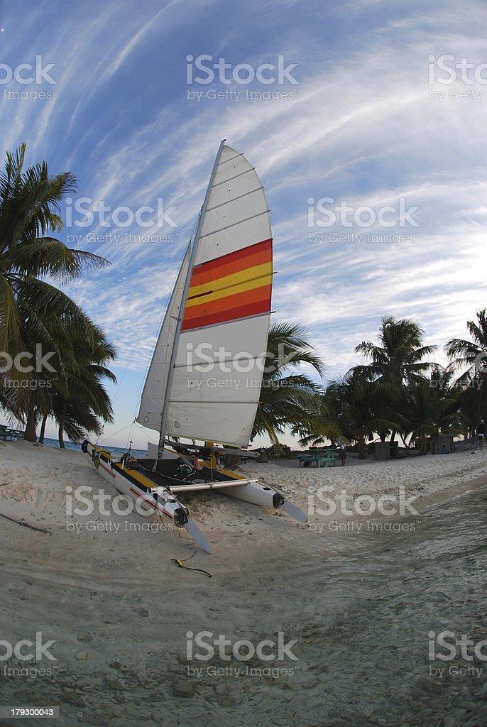 Beached Catamaran royalty-free stock photo