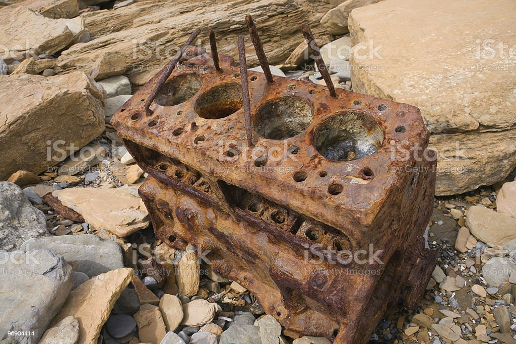 beached engine royalty-free stock photo
