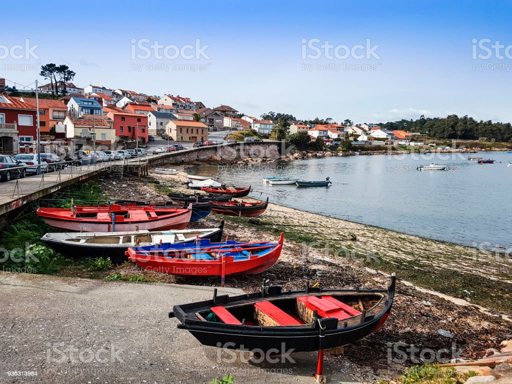 Beached fishing boats in Arousa Island stock photo