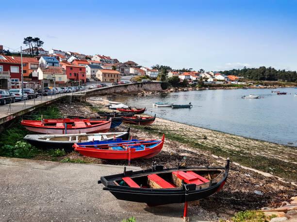 Beached fishing boats in Arousa Island stock photo