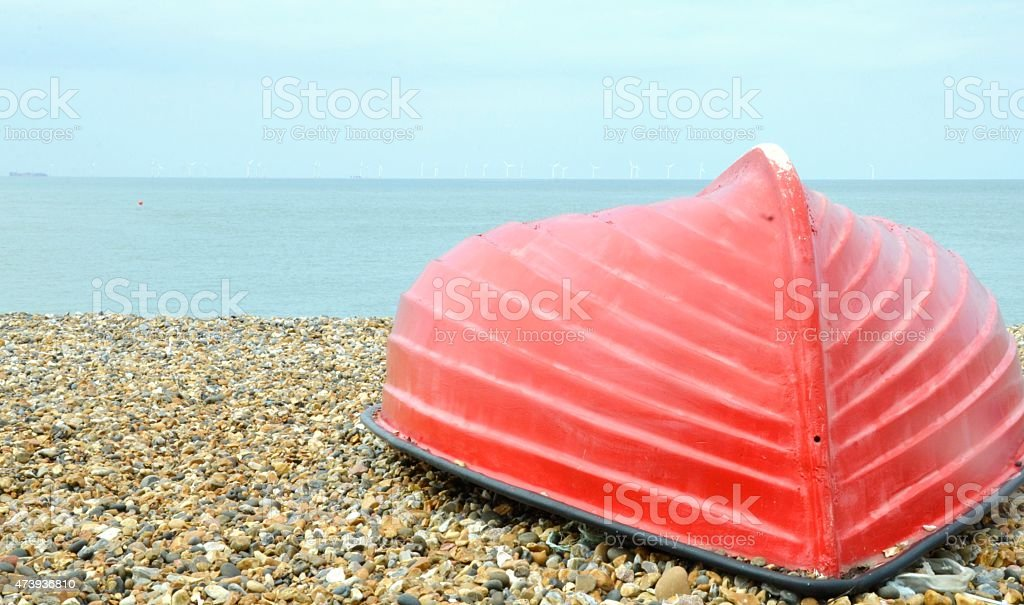 Beached Red Boat Herne Bay Kent stock photo