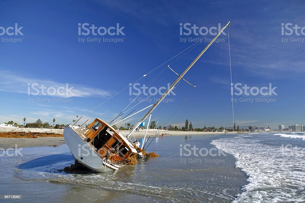 Beached Sailboat stock photo