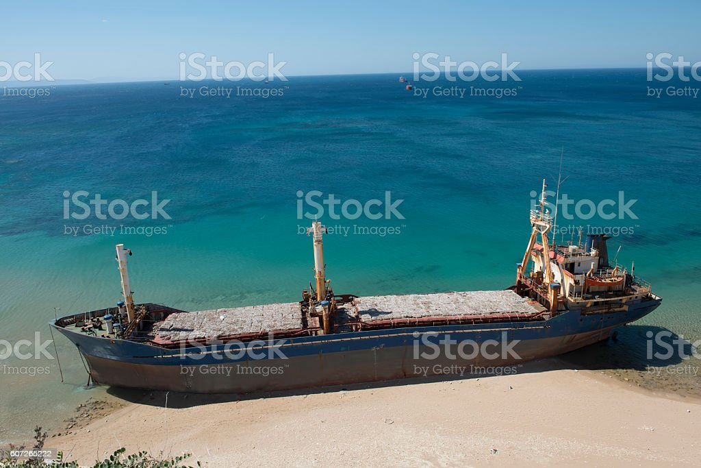 Beached ship stock photo