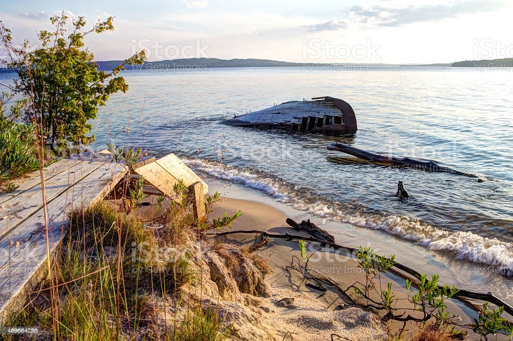 Beached Shipwreck In Lake Superior stock photo