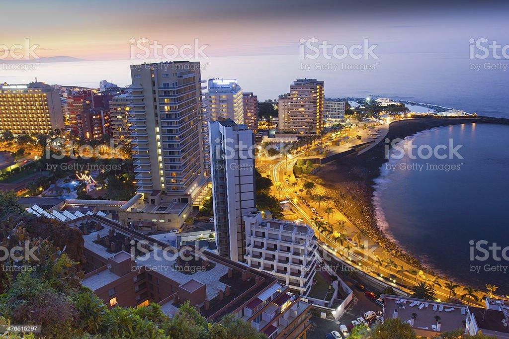 Beaches and hotels of Puerto Cruz at sunset, Tenerife stock photo
