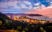 Looking down on Playas del Coco, Guanacaste, Costa Rica at night.