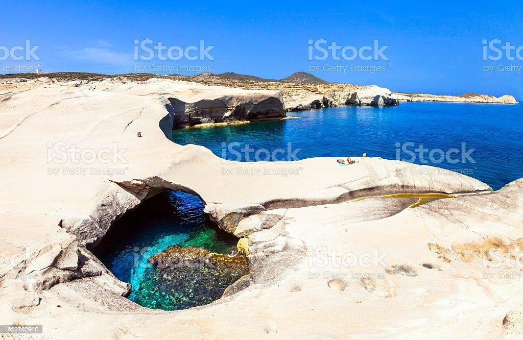 beaches of Greece - Sarakiniko on Milos island stock photo