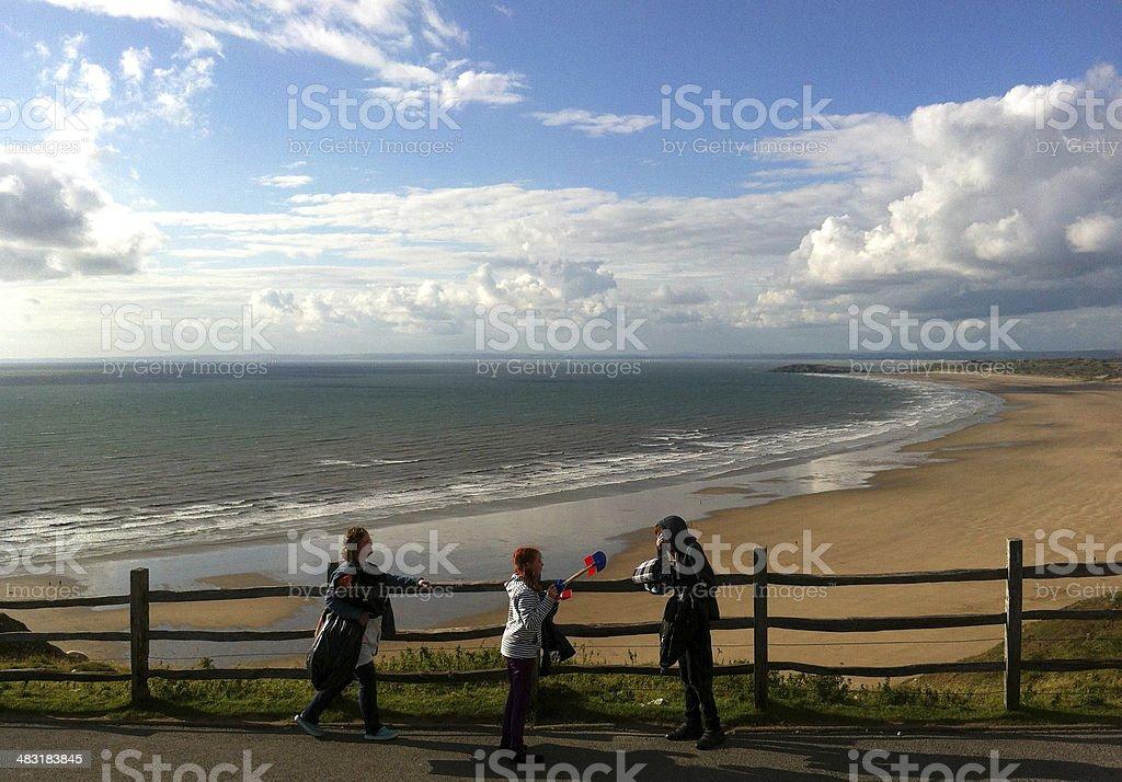 Beachfront and coastline of Rhossili Bay stock photo