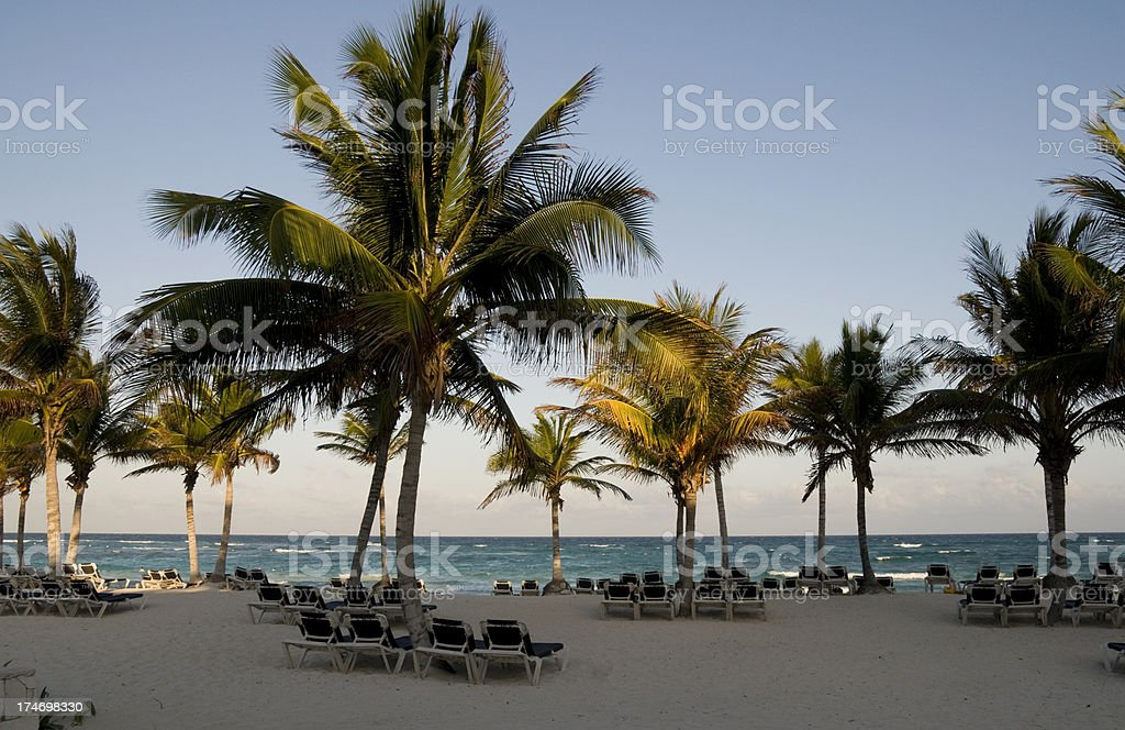 Beachfront at a Mexican Resort Hotel royalty-free stock photo