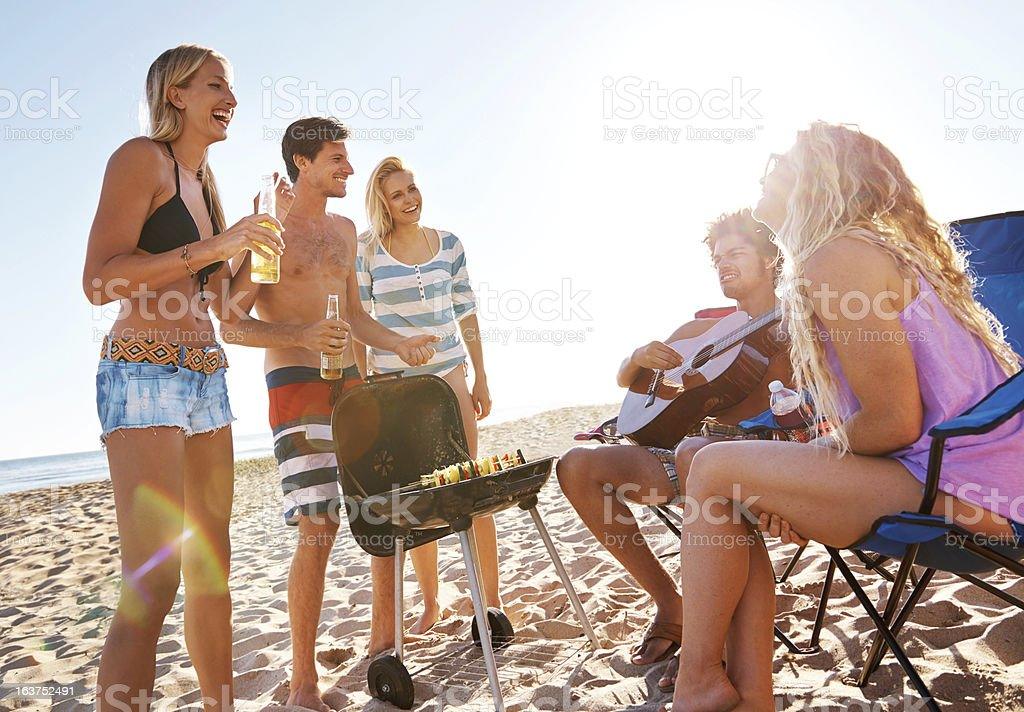 Beachfront gatherings stock photo