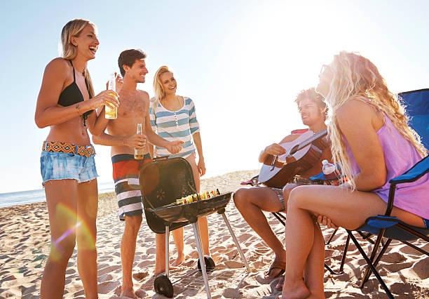 Beachfront gatherings stock photo