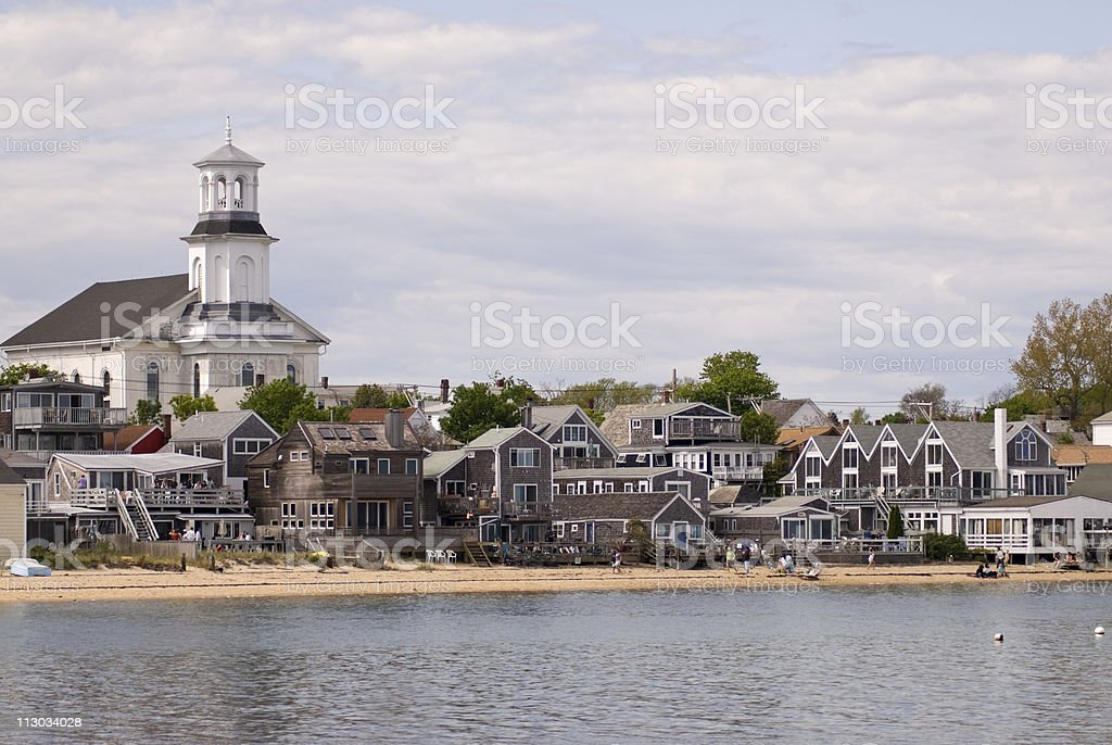 Beachfront houses in Provincetown, Cape Cod stock photo