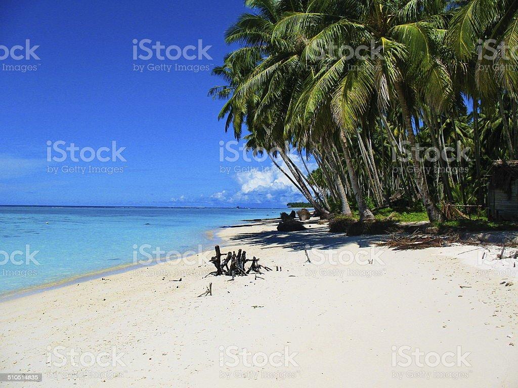 Beachfront of a tiny island off West Sumatra, Indonesia stock photo