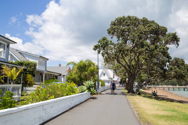 Beachfront road in Russell, New Zealand stock photo