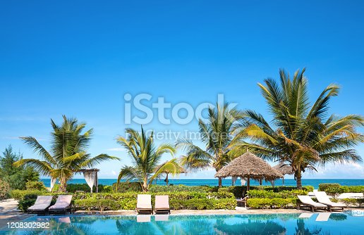 Swimming pool in luxury resort near Indian ocean (Zanzibar island, Tanzania). Property released.
