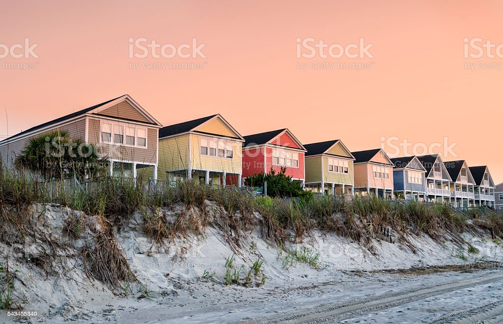 Beachfront vacation cottages in summer stock photo