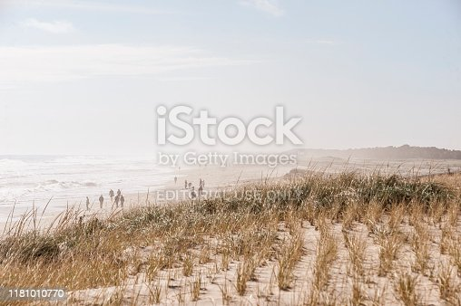 Orleans, Massachusetts, USA - October 13, 2019: Haze along Nauset Beach caused by several days of heavy surf breaking on the beach