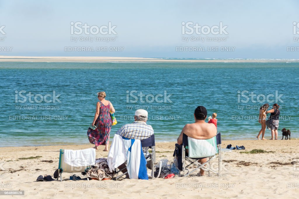 Beachgoers on Inverloch beach in South Gippsland in Australia. royalty-free stock photo