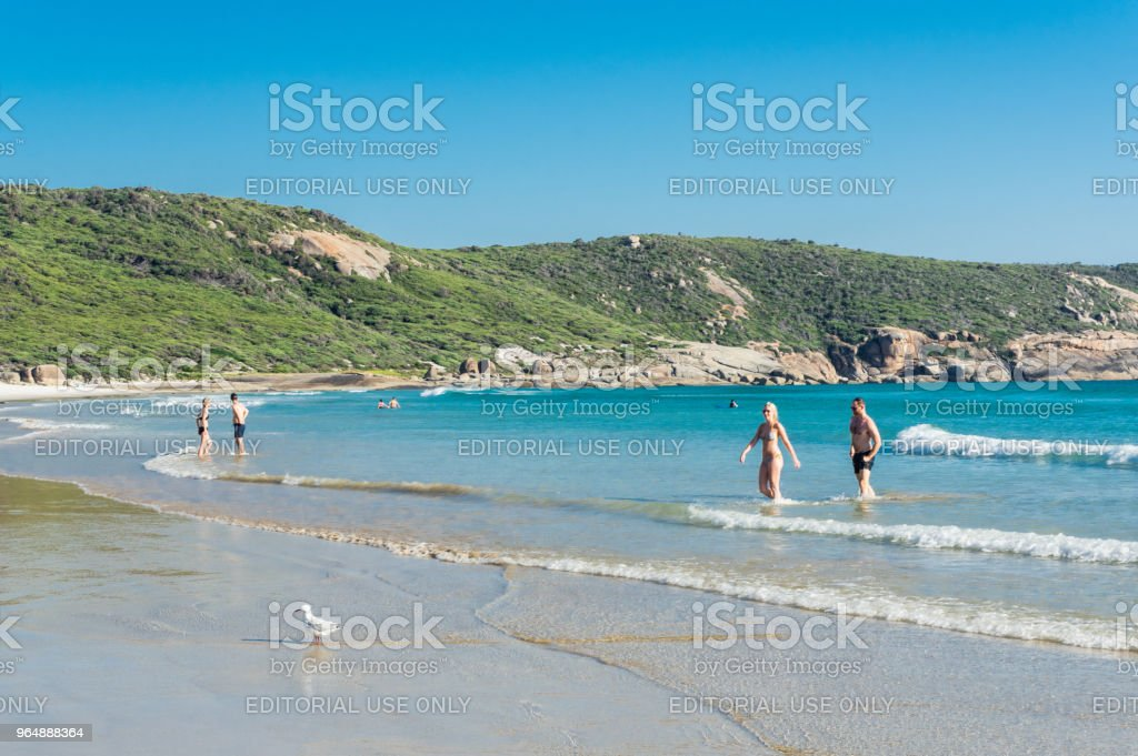 Beachgoers on Squeaky Beach at Wilsons Promontory in South Gippsland in Australia. royalty-free stock photo