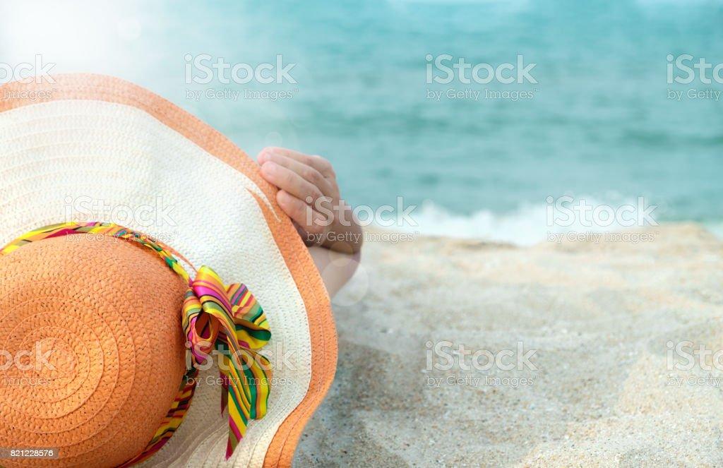 beach-hat stock photo