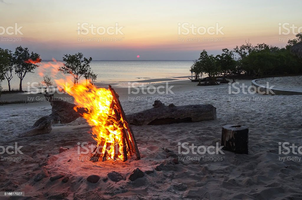 Beachside campfire stock photo