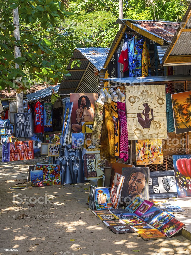 Beachside craft stalls, Sosua, Dominican Republic royalty-free stock photo