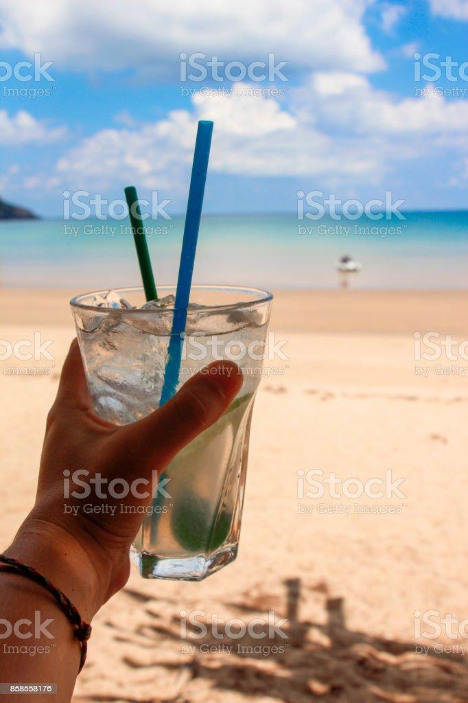 Beachside drink stock photo