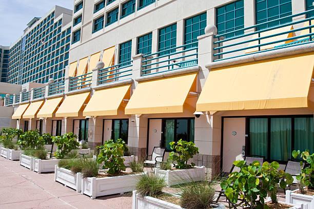 Beachside Resort Rooms stock photo