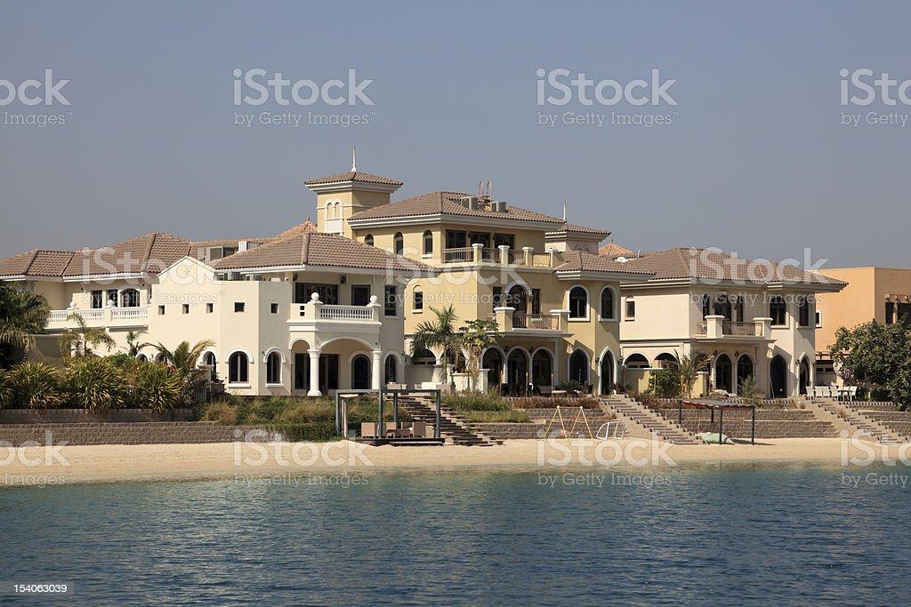 Beachside villas in Dubai stock photo