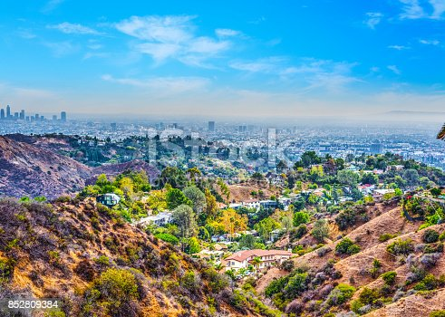 Beachwood canyon on a clear day. Los Angeles, California