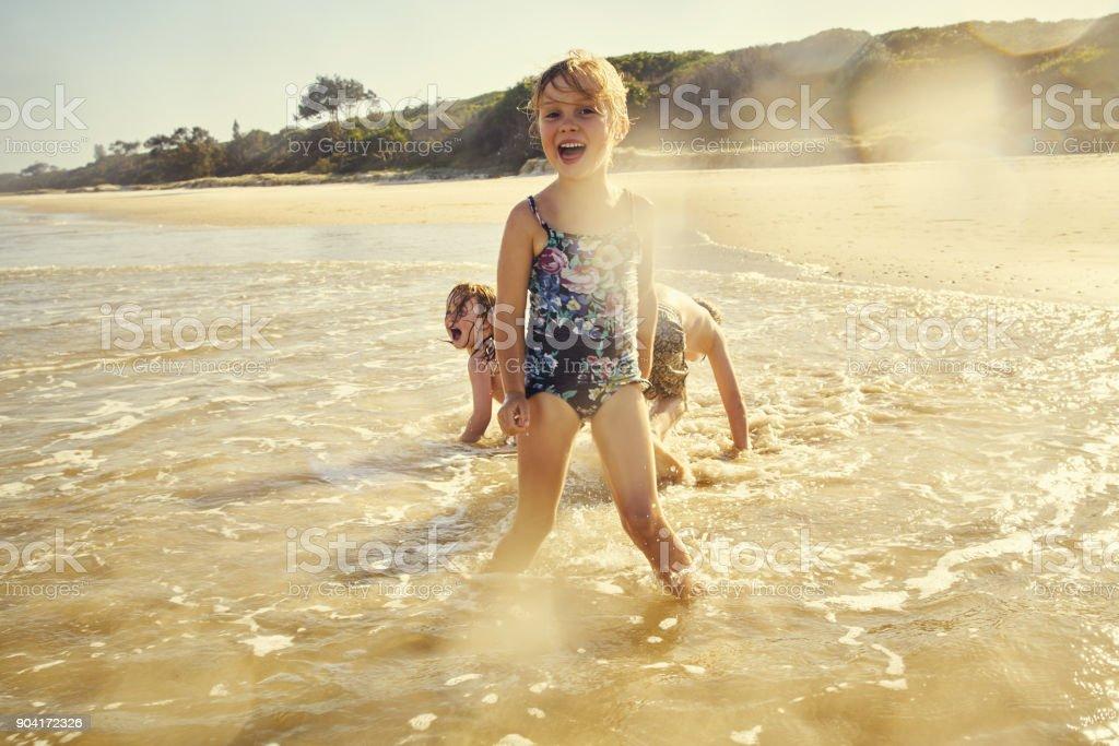 Beachy fun with my bros stock photo